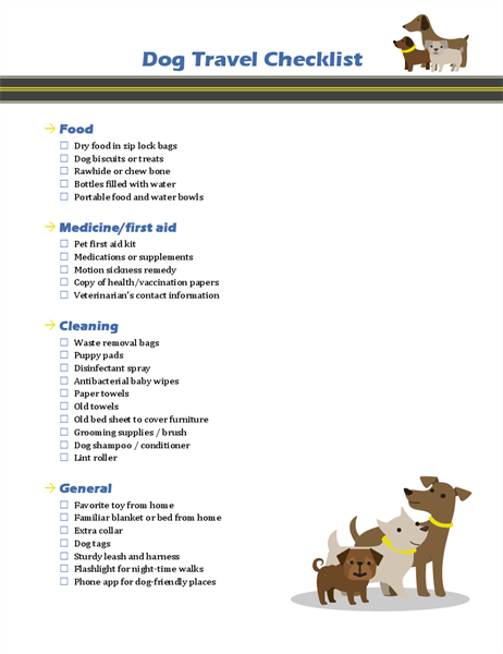 Dog travel checklist