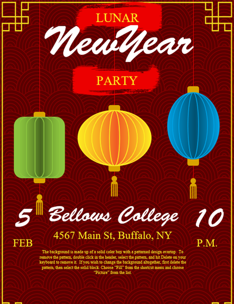 Lanterns Chinese New Year flyer
