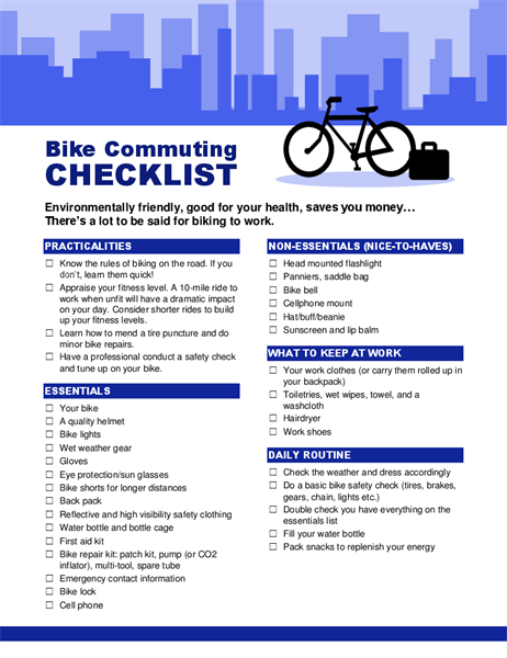Bike commuting checklist