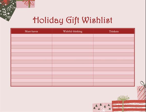 Grown-ups holiday wish list