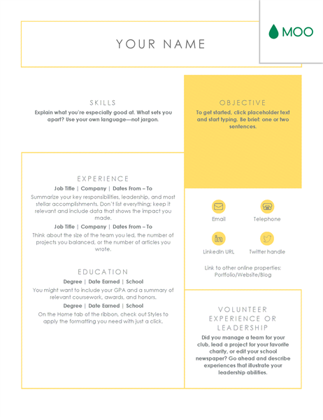 crisp and clean resume  designed by moo