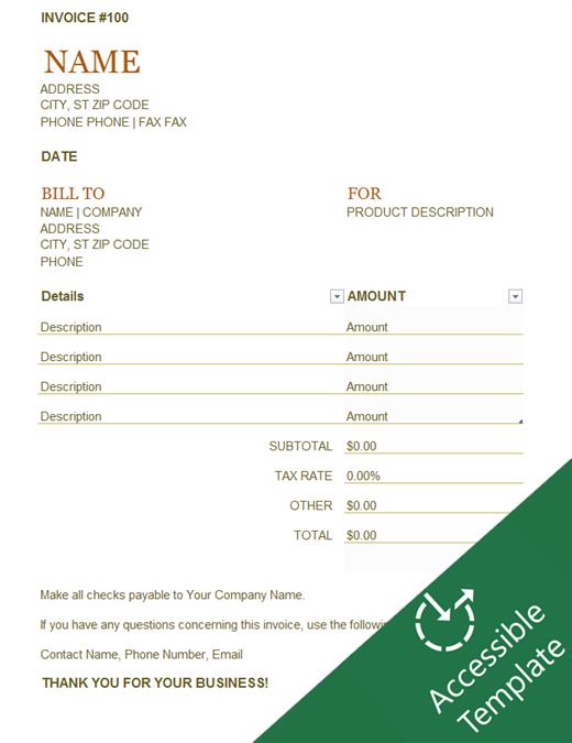 Invoice accessibility guide