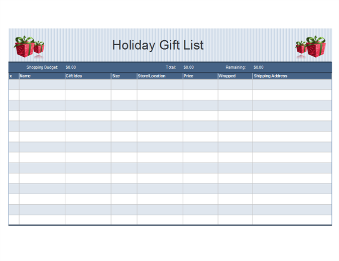 Holiday shopping planner