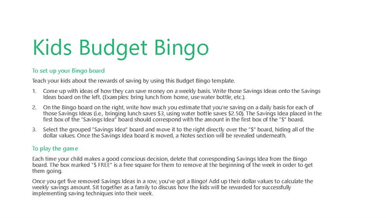 Kids Budget Bingo