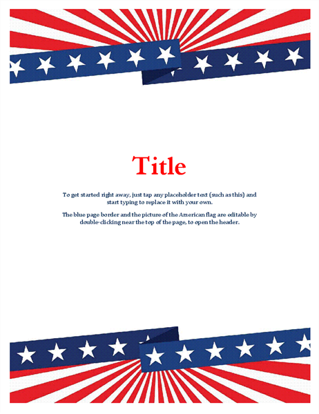 American flag flyer with header and footer