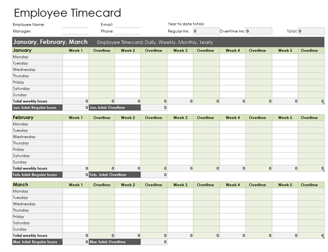 Employee timecard (daily, weekly, monthly, and yearly)