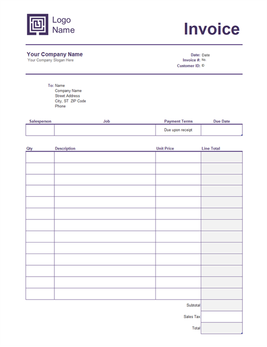 Service invoice (Simple Lines design)