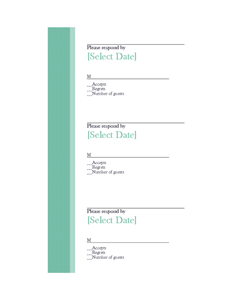 Wedding response cards (3 per page)