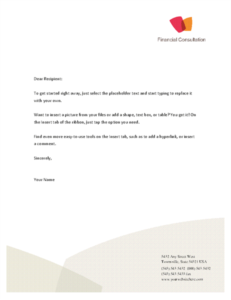 Financial business letterhead