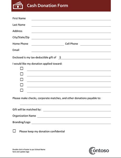 Cash donation form