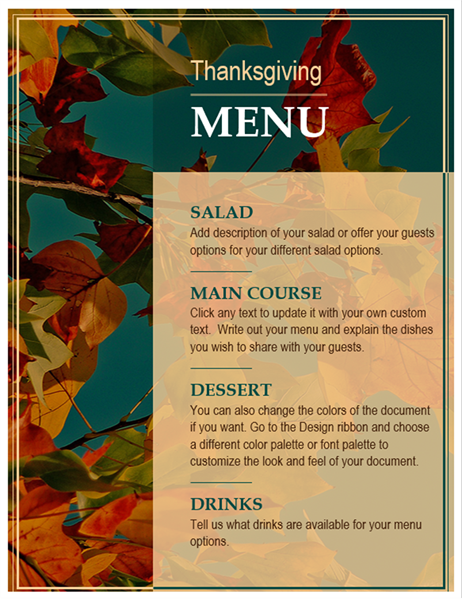 Autumn leaves Thanksgiving menu
