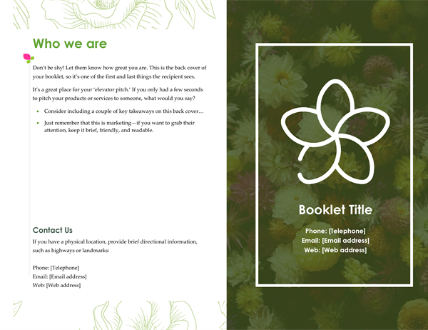 Green floral booklet