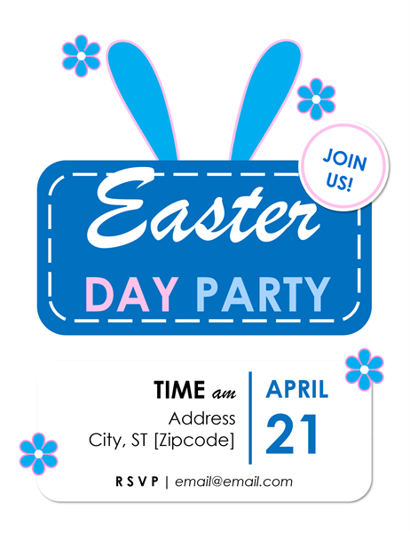 Bunny ears Easter party flyer
