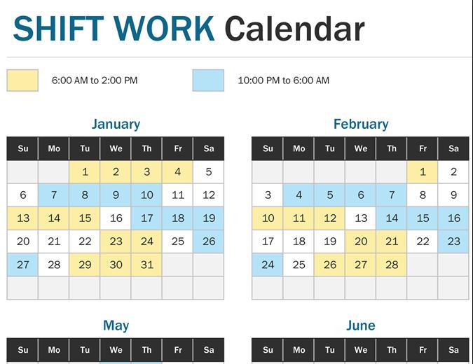 Calendrier Work Shift.Shift Work Calendar Year At A Glance