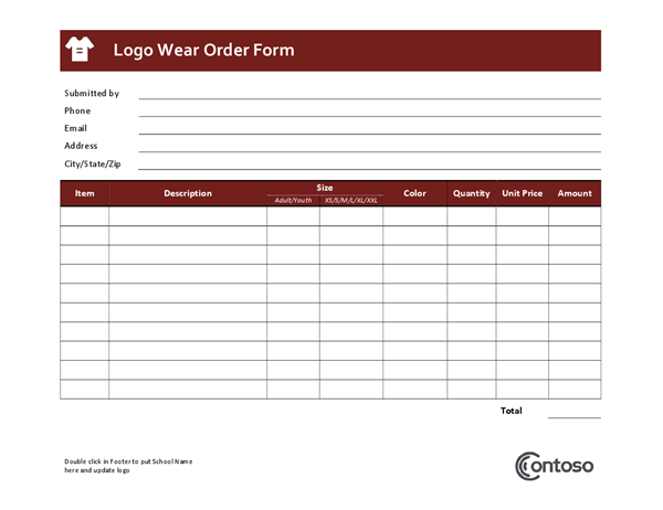 order form logo  Logowear order form