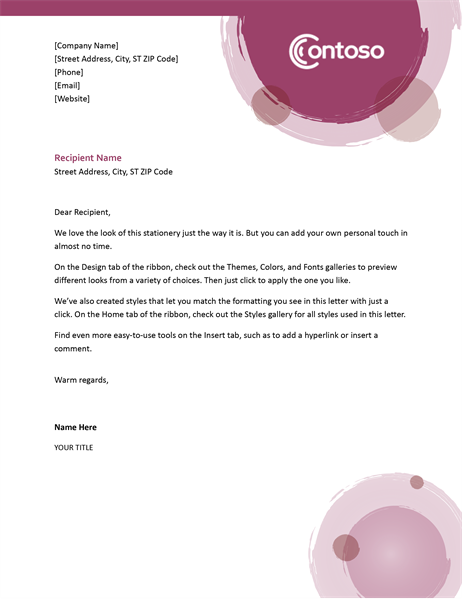 Rose suite letterhead
