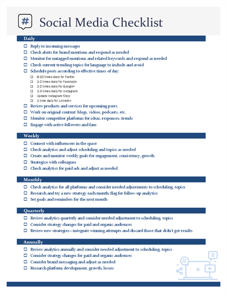 image about Daily Goals Checklist called Social media list