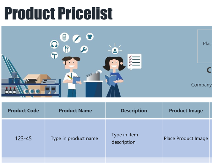 Blue product price list