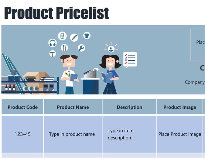 Blue product price list