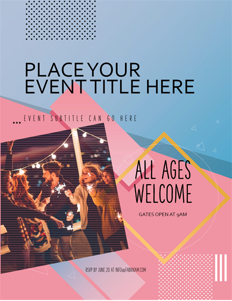 Blocky event flyer with image