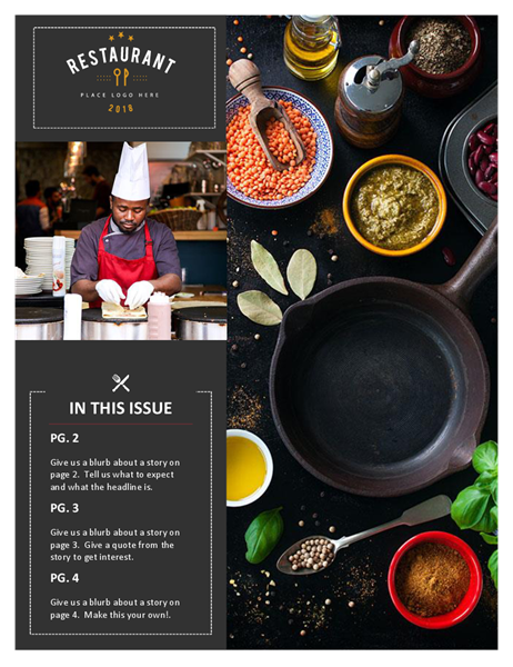 Restaurant newsletter