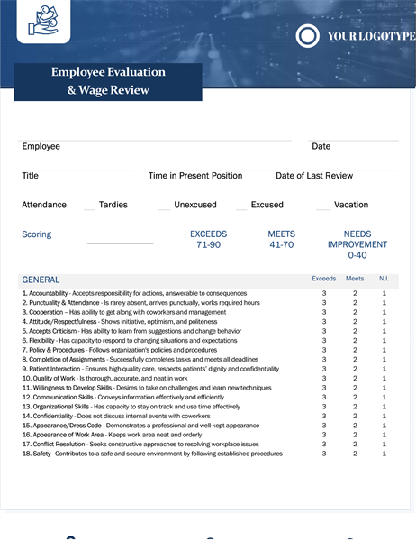Employee evaluation and wage review small business