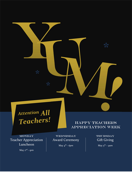 Yum! Teacher appreciation flyer