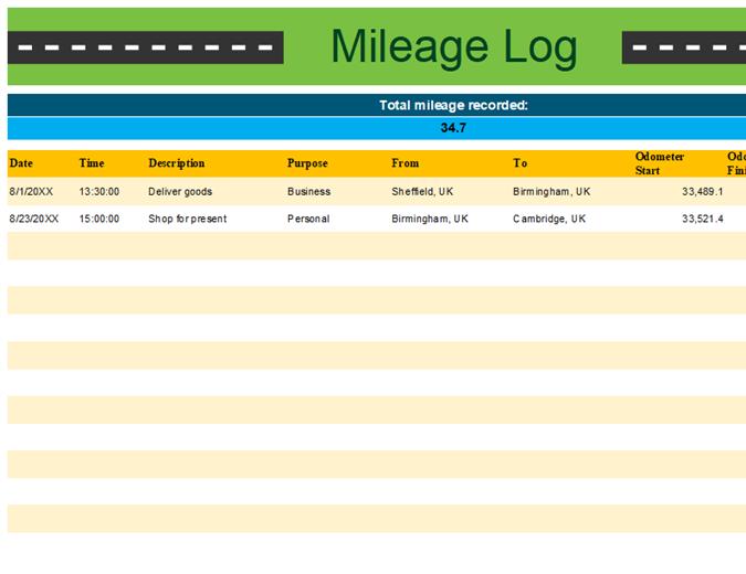 Personal mileage tracker