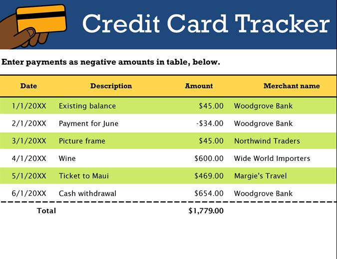 Credit card tracker