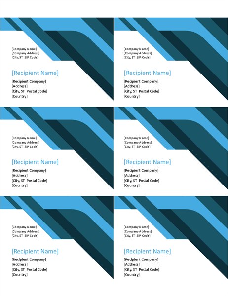Angles and curves labels (6 per page)
