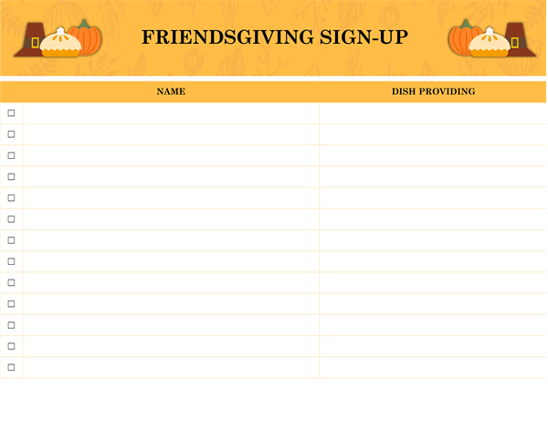 Friendsgiving sign-up