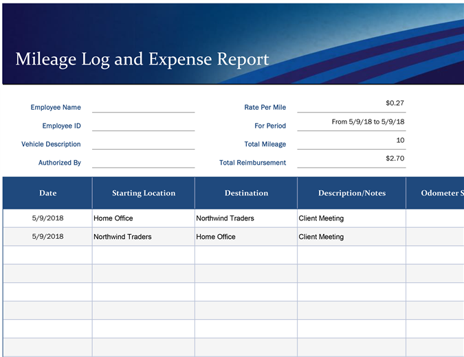 Blue mileage and expense report