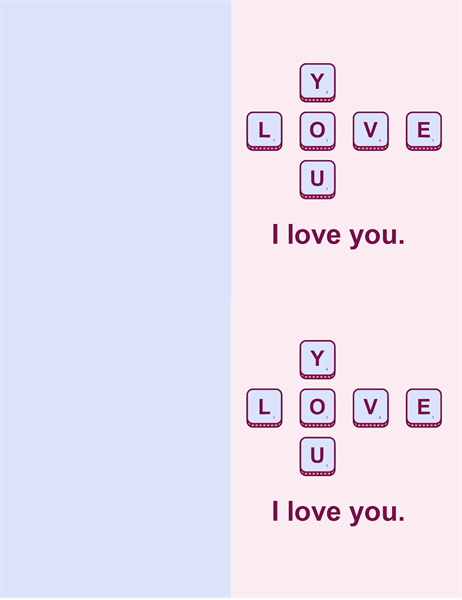 Word game Valentine's card