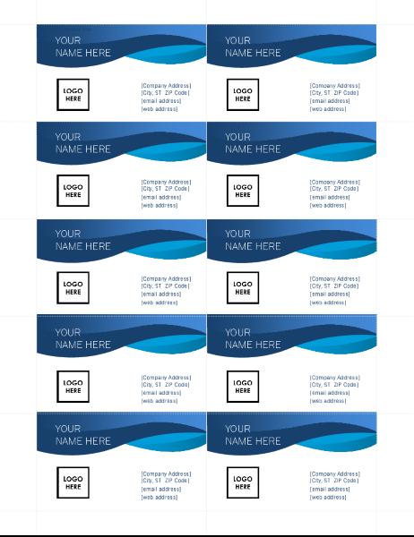 Blue curve business cards