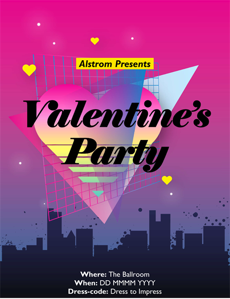 Eighties Valentine's Day flyer