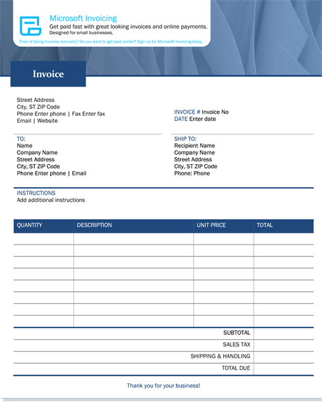 Standard sales invoice with Microsoft Invoicing
