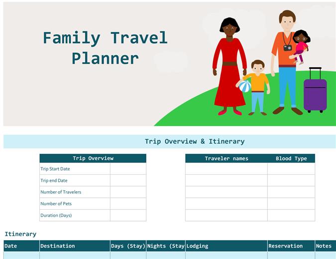 Family travel itinerary