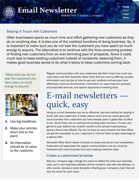 Small business email marketing template
