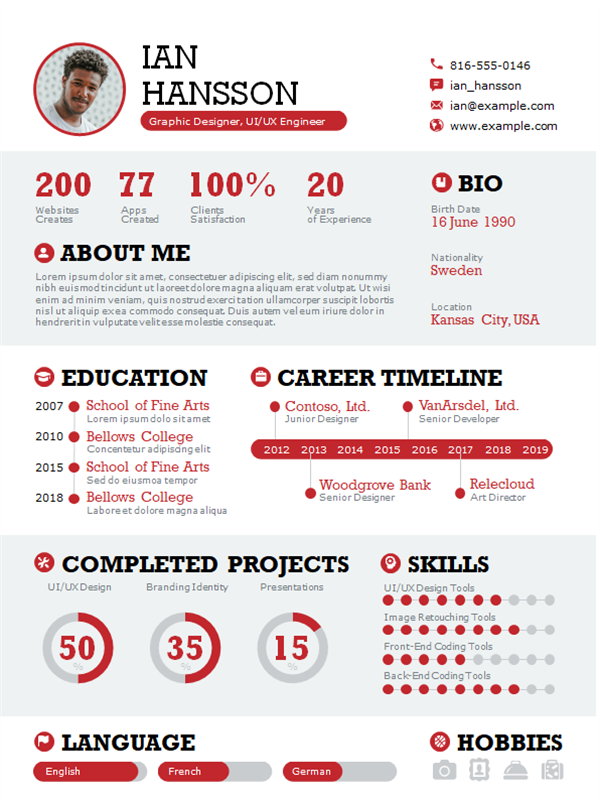 Bold infographic resume
