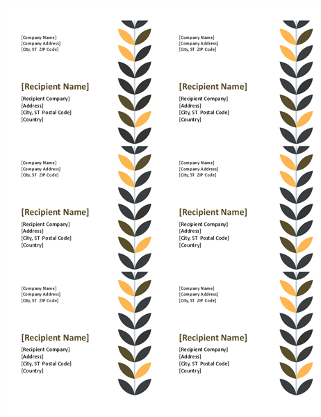 Vine labels (6 per page)