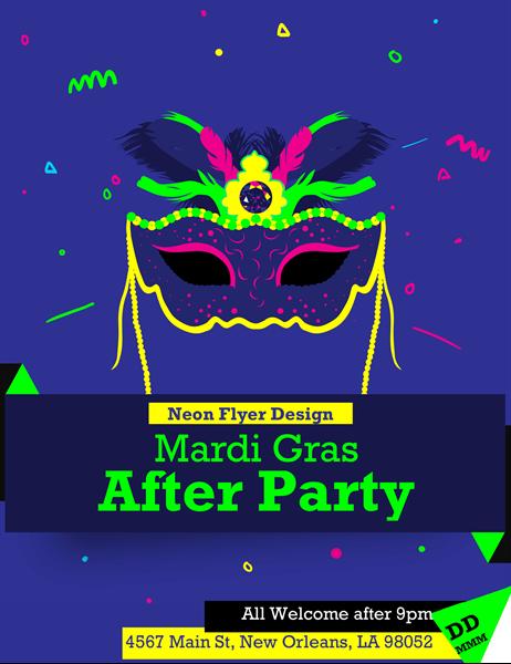 Neon Mardi Gras flyer