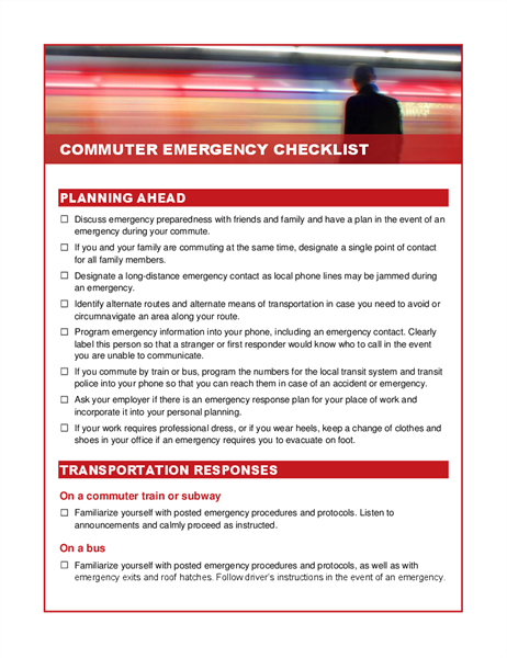 Commuter emergency checklist
