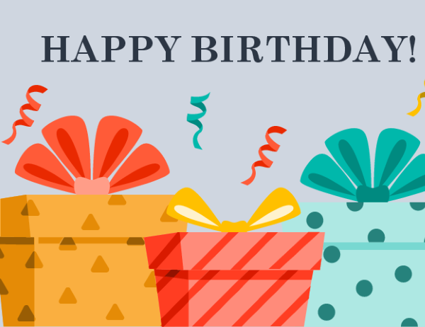 Cheerful presents birthday card