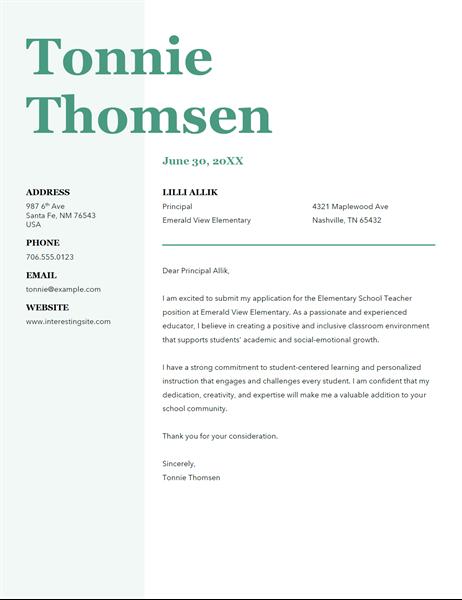 Bold monogram cover letter
