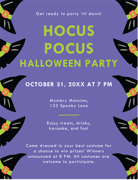 Flying witch Halloween party flyer