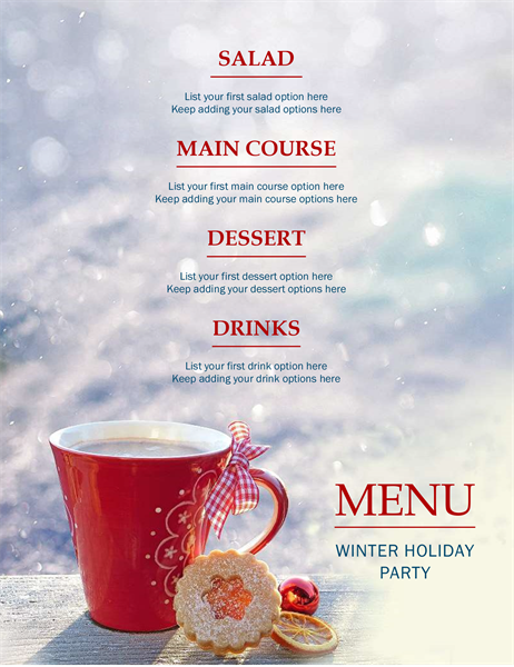 Winter holiday party menu