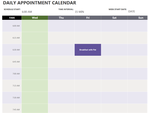 picture regarding Printable Appointment Sheets identified as Every day appointment calendar (7 days see)