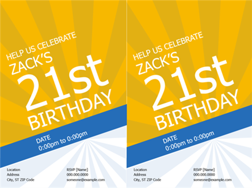 Birthday invitations (gold rays)