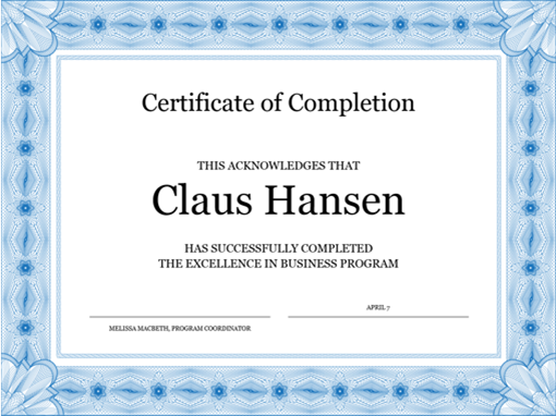image about Printable Certificates of Completion identified as Certification of completion (blue)