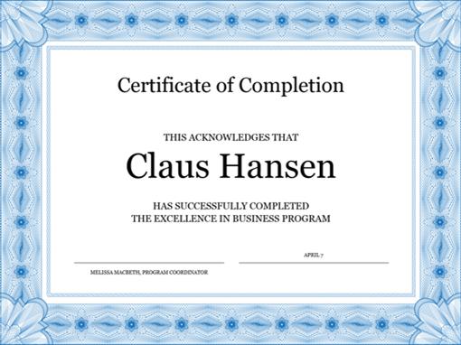 photo regarding Printable Certificates of Completion named Certification of completion (blue)